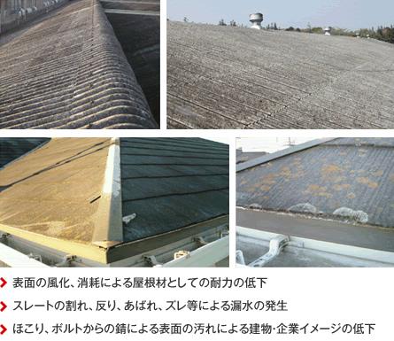 表面の風化、消耗による屋根材としての耐力の低下/スレートの割れ、反り、あばれ、ズレ等による漏水の発生/ほこり、ボルトからの錆による表面の汚れによる建物・企業イメージの低下